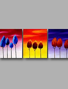 tanie Pejzaże abstrakcyjne-Hang-Malowane obraz olejny Ręcznie malowane - Kwiatowy / Roślinny Nowoczesny Naciągnięte płótka / Trzy panele / Rozciągnięte płótno