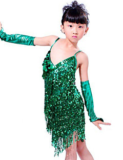 Dança Latina Roupa Crianças Actuação Lantejoulas 3 Peças Sem Mangas Vestido Mangas