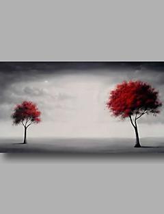 tanie Pejzaże abstrakcyjne-Ręcznie malowane Kwiatowy/Roślinny Poziomy panoramiczny, Nowoczesny Brezentowy Hang-Malowane obraz olejny Dekoracja domowa Jeden panel