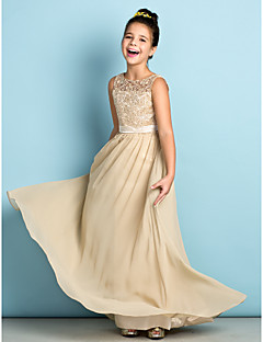 cheap Junior Bridesmaid Dresses-A-Line Scoop Neck Floor Length Chiffon Lace Junior Bridesmaid Dress with Lace by LAN TING BRIDE®