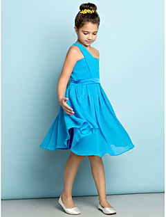 cheap Junior Bridesmaid Dresses-A-Line One Shoulder Knee Length Chiffon Junior Bridesmaid Dress with Side Draping by LAN TING BRIDE®