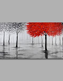 tanie Pejzaże abstrakcyjne-Hang-Malowane obraz olejny Ręcznie malowane - Kwiatowy / Roślinny Nowoczesny Naciągnięte płótka / Zwijane płótno