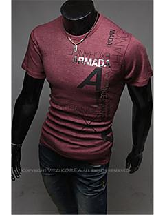 billige Herremote og klær-Bomull Store størrelser T-skjorte - Ensfarget, Trykt mønster Sport Helg Arbeid Herre