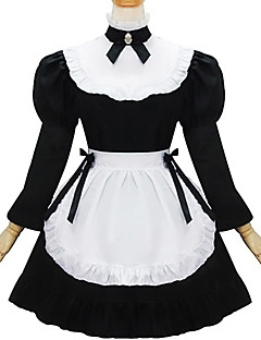 Gothic Lolita Dress Cute Maid Suits Cosplay Black Long Sleeves