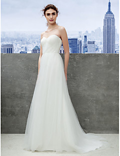 cheap Convertible Dresses-A-Line Sweetheart Sweep / Brush Train Tulle Wedding Dress with Ruche by LAN TING BRIDE®