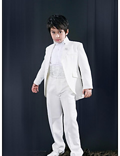 cheap Ring Bearer Suits-White Polyester Ring Bearer Suit - Five-piece Suit Includes  Jacket Waist cummerbund Shirt Pants Bow Tie
