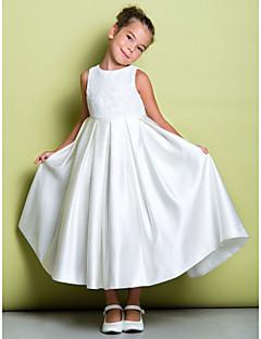 tanie Sukienki dla dziewczynek z kwiatami-Krój A Do kostki Sukienka dla dziewczynki z kwiatami - Koronka Satyna Bez rękawów Zaokrąglony z Koronka przez LAN TING BRIDE®