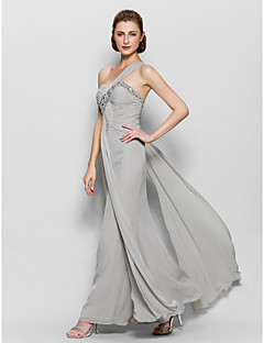 A-Line One Shoulder Ankle Length Chiffon Mother of the Bride Dress with Beading Criss Cross by LAN TING BRIDE®