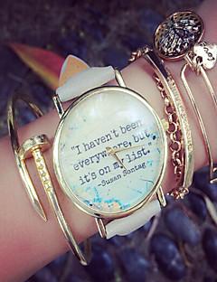 女性用 ファッションウォッチ クロノグラフ付き クォーツ PU バンド ワードダイアル腕時計 ブラック 白 グレー ピンク ベージュ