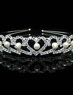 Lucky Doll Women's Elegant 925 Silver Plated Imitation Pearl Cubic Zirconia Heart Headband