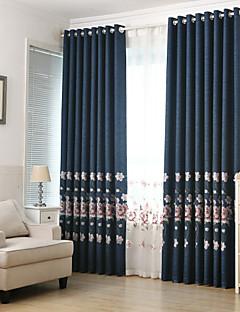 billige Mørkleggingsgardiner-Stanglomme Propp Topp Fane Top Dobbelt Plissert Blyant Plissert To paneler Window Treatment Moderne Europeisk Middelhavet Neoklassisk Land
