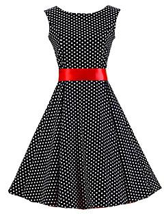 Bayanlar Pamuklu Diz-boyu Kolsuz Yuvarlak Yaka Büzgülü Bayanlar Elbise