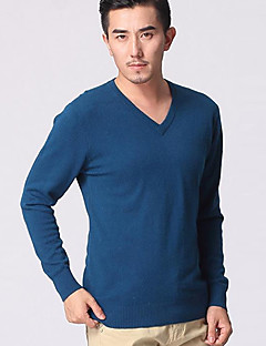 tanie Męskie swetry i swetry rozpinane-Męski - Kaszmir - Na co dzień / Do biura - Normalny - Długi rękaw - Gładki/a