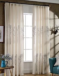 billige Gardiner-Propp Topp Dobbelt Plissert To paneler Window Treatment Moderne Neoklassisk Land, Trykk Soverom Poly/ Bomull Blanding Materiale gardiner