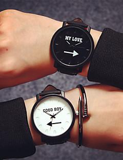 男性 女性用 カップル用 ファッションウォッチ クォーツ レザー バンド ワードダイアル腕時計