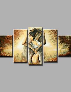 tanie Portrety abstrakcyjne-Ręcznie malowane Ludzie Dowolny kształt, Nowoczesny Brezentowy Hang-Malowane obraz olejny Dekoracja domowa Pięć paneli