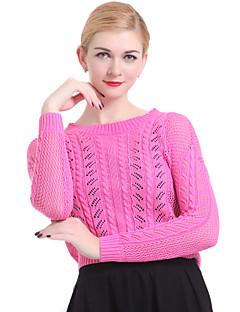 baratos Suéteres de Mulher-Feminino Padrão Pulôver Sólido Azul Rosa Branco Cinza Manga Longa Algodão Linho Outros Inverno