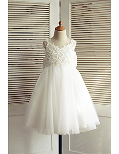 A-Line Knee Length Flower Girl Dress - Lace Tulle Sleeveless V-neck with Bow(s) by LAN TING BRIDE®