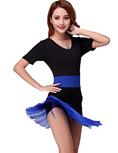 Latin Dance Dresses Women's Performance Milk Fiber Tassel(s) 1 Piece Dress