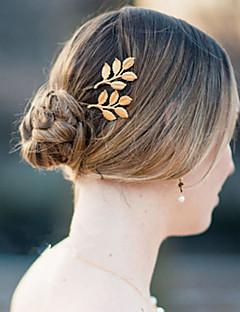 Women Metal Delicate Golden Leaf Hairpin Side Folder Hair Accessories