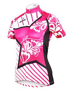 billige Sykkelklær-ILPALADINO Dame Kortermet Sykkeljersey - Yan Rosa Blomster / botanikk Sykkel Jersey, Fort Tørring, Ultraviolet Motstandsdyktig, Pustende