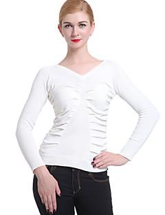 baratos Suéteres de Mulher-Mulheres Manga Longa Pulôver - Sólido, Franzido