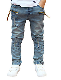 New Children Boys Denim Pants Ripped Patches Elastic Waist Kids Casual Jeans Trousers