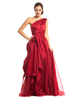 A-Line One Shoulder Floor Length Organza Satin Prom Formal Evening Dress with Side Draping by TS Couture®