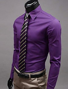 Men's Plus Size Solid Purple/Wine/Pink Shirt,Work Slimming Shirt Collar Long Sleeve