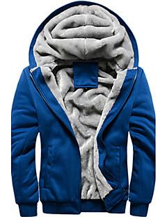 Erkek N/A Uzun Kol Kapşonlu Kış Tek Renk Modern Spor ve Outdoor Günlük Normal-Erkek Ceketler