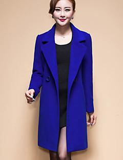 お買い得  レディースコート&トレンチコート-女性用 コート 純色 ウール タッセル パッチワーク