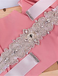 cheap Wedding Ribbons and Sashes-Satin Wedding Party/ Evening Dailywear Sash With Rhinestone Beading Pearls Sequins