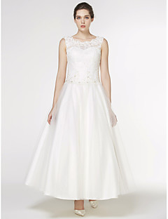A-Line Scoop Neck Ankle Length Lace Tulle Wedding Dress with Appliques Lace by LAN TING BRIDE®