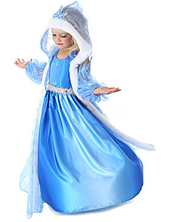 Princess Fairytale Cosplay Costume Movie Cosplay Blue Coat Dress Gloves Halloween New Year Chiffon