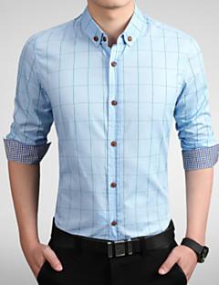 billige Herremote og klær-Bomull Tynn Store størrelser Skjorte - Ruter Forretning Herre