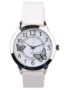 Dames Modieus horloge Dress horloge Kwarts Waterbestendig imitatie Diamond PU Band Glitter Vlinder Wit