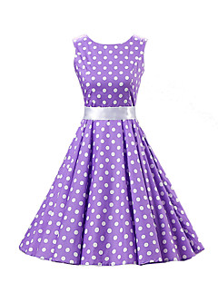 Women's Going out Vintage A Line Skater Dress,Polka Dot Round Neck Knee-length Sleeveless Cotton All Seasons Mid Rise Micro-elastic Medium
