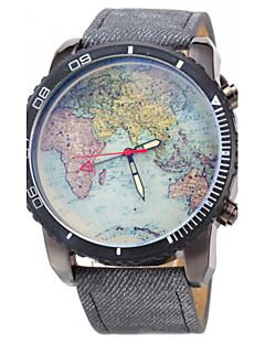 Χαμηλού Κόστους Brand Watches-JUBAOLI Ανδρικά Ρολόι Καρπού Χαλαζίας Καθημερινό Ρολόι Δέρμα Μπάντα Παγκόσμιος Χάρτης Pattern Μαύρο Μπλε