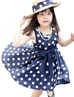 Girl's Polka Dot Dress Summer Sleeveless Bow White Navy Blue Pink