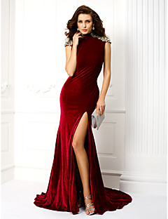 Sereia / trompete vestido de veludo de alta velocidade de pescoço / escova por ts couture®
