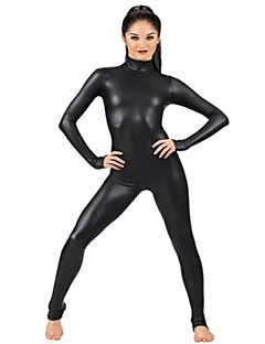 Zentai Suits Ninja Zentai Cosplay Costumes Black Solid Leotard/Onesie Zentai Spandex Shiny Metallic Unisex Halloween