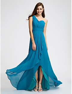 cheap Imperial Blue-Sheath / Column One Shoulder Sweep / Brush Train Chiffon Bridesmaid Dress with Ruched by LAN TING BRIDE®