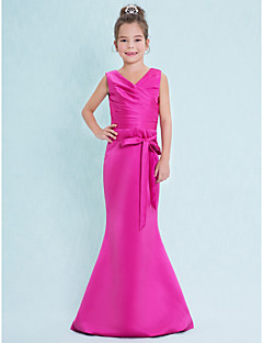 Mermaid / Trumpet V-neck Floor Length Satin Junior Bridesmaid Dress with Criss Cross by LAN TING BRIDE®
