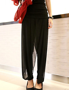 Women's Solid Black Loose / Harem Pants , Plus Size / Street chic