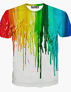 Men's Sports Casual/Daily T-shirt,Print Rainbow Short Sleeves Cotton