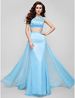 גזרת A עם תכשיטים שובל סוויפ \ בראש שיפון נשף ערב רישמי שמלה עם חרוזים פרטים מקריסטל על ידי TS Couture®