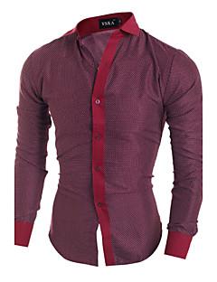 b6dd10f0372 Pánské - Jednobarevné Košile Bavlna Klasický límeček Štíhlý   Dlouhý rukáv