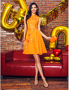 A-Line Jewel Neck Knee Length Chiffon Cocktail Party Prom Company Party Dress with Appliques by TS Couture®