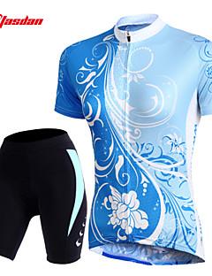 TASDAN Pyöräily jersey ja shortsit Naisten Lyhyt hiha Pyörä Shortsit Jersey Suojashortsit Hihat TopitNopea kuivuminen Hengittävä 3D