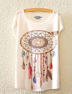 Mulheres Camiseta Casual Fofo / Activo Todas as Estações,Floral Colorido Algodão Decote Redondo Manga Curta Média